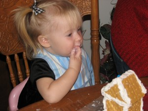 Eating some icing