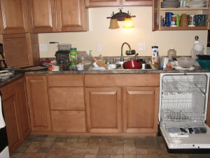 My messy kitchen before I cleaned it up.